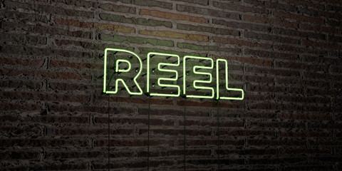 REEL -Realistic Neon Sign on Brick Wall background - 3D rendered royalty free stock image. Can be used for online banner ads and direct mailers..