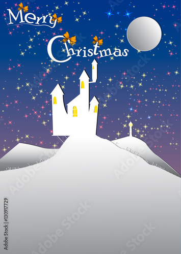 postcard or invitation to the christmas and new year holidays castle on the hill