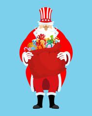 Santa Uncle Sam. American Christmas Claus. Winter cylinder. Patr