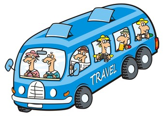 Bus and seniors. Vector icon. Funny illustration.