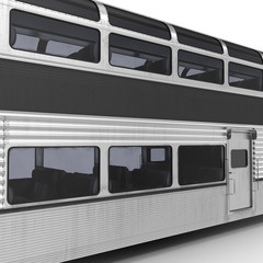 Railroad Double Deck Lounge Car on white. 3D illustration