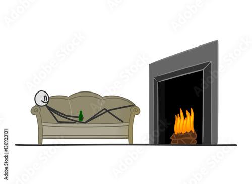 Sm couch vor kaminofen i stockfotos und lizenzfreie for Couch vor heizung