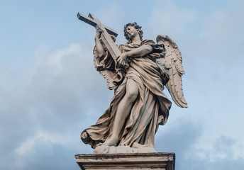 Sculpture of an angel on the bridge of Sant'Angelo in Rome, Ital