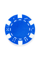 Blue poker chip isolated on a white background