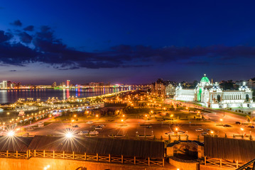 Beautiful night view of the embankment of the river Kazanka, farmers Park and the Palace of farmers (Ministry of agriculture), Kazan, Tatarstan, Russia