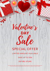 Valentine's Day sale flyer. Top view on gift boxes and red case for ring. Beautiful backdrop with candles, confetti and serpentine on wooden texture. Vector illustration.