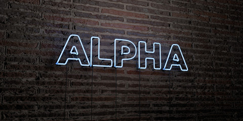 ALPHA -Realistic Neon Sign on Brick Wall background - 3D rendered royalty free stock image. Can be used for online banner ads and direct mailers..