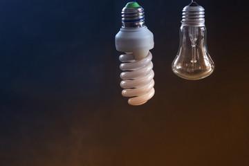 Light bulb on a dark blurred background