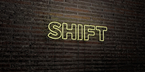 SHIFT -Realistic Neon Sign on Brick Wall background - 3D rendered royalty free stock image. Can be used for online banner ads and direct mailers..