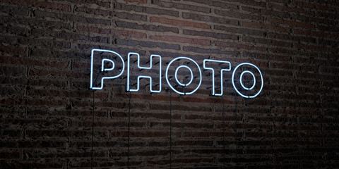PHOTO -Realistic Neon Sign on Brick Wall background - 3D rendered royalty free stock image. Can be used for online banner ads and direct mailers..