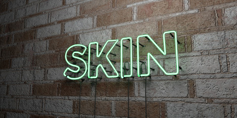 SKIN - Glowing Neon Sign on stonework wall - 3D rendered royalty free stock illustration.  Can be used for online banner ads and direct mailers..