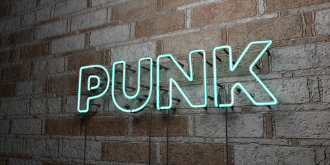 PUNK - Glowing Neon Sign on stonework wall - 3D rendered royalty free stock illustration.  Can be used for online banner ads and direct mailers..