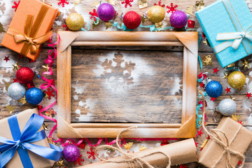 gifts, Christmas toys and wooden frame mockup