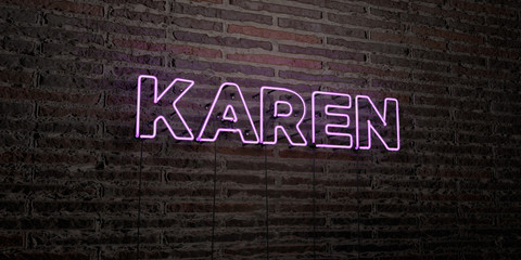 KAREN -Realistic Neon Sign on Brick Wall background - 3D rendered royalty free stock image. Can be used for online banner ads and direct mailers..