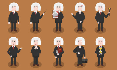 Set of vector cartoon judge character in various situations and emotions. Concept of law authority, court and justice.