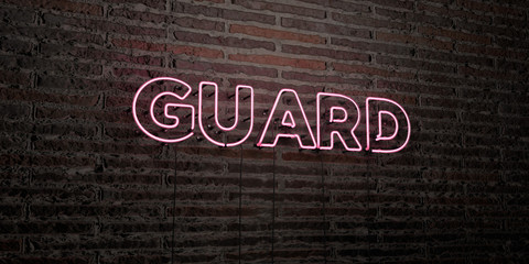 GUARD -Realistic Neon Sign on Brick Wall background - 3D rendered royalty free stock image. Can be used for online banner ads and direct mailers..