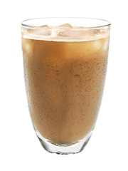 Glass of cold coffee on white background