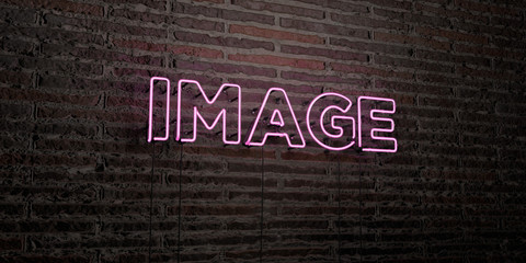 IMAGE -Realistic Neon Sign on Brick Wall background - 3D rendered royalty free stock image. Can be used for online banner ads and direct mailers..