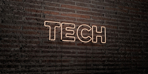 TECH -Realistic Neon Sign on Brick Wall background - 3D rendered royalty free stock image. Can be used for online banner ads and direct mailers..