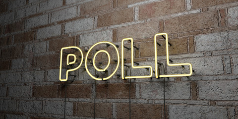 POLL - Glowing Neon Sign on stonework wall - 3D rendered royalty free stock illustration.  Can be used for online banner ads and direct mailers..