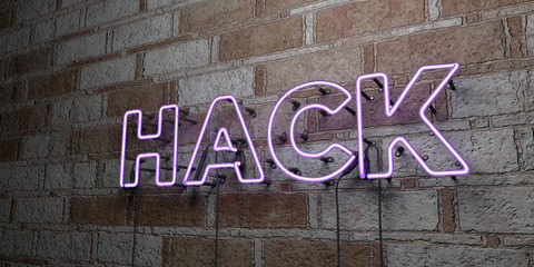 HACK - Glowing Neon Sign on stonework wall - 3D rendered royalty free stock illustration.  Can be used for online banner ads and direct mailers..