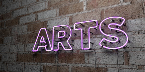 ARTS - Glowing Neon Sign on stonework wall - 3D rendered royalty free stock illustration.  Can be used for online banner ads and direct mailers..