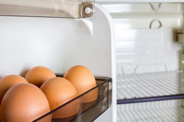 chicken eggs in an empty refrigerator