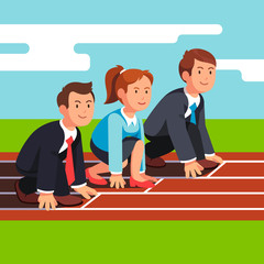 Business people ready to sprint run on race track