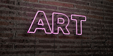 ART -Realistic Neon Sign on Brick Wall background - 3D rendered royalty free stock image. Can be used for online banner ads and direct mailers..