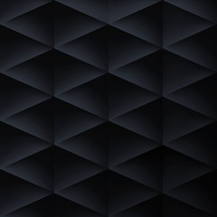 Retro background, triangles and rhombus, mesh gradient, vector wallpaper, black pattern