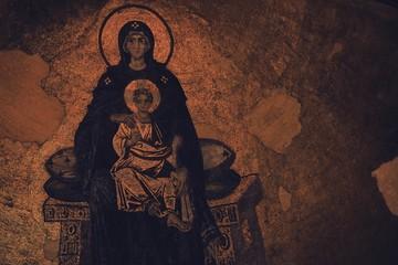 Meryem oğlu İsa Peygamber mozaik yapıt - Ayasofya