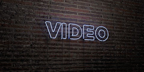 VIDEO -Realistic Neon Sign on Brick Wall background - 3D rendered royalty free stock image. Can be used for online banner ads and direct mailers..