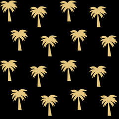gold palm tree on black background seamless vector pattern illustration
