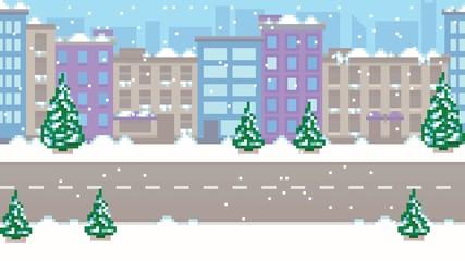 Pixel art empty winter city vector pattern background illustration