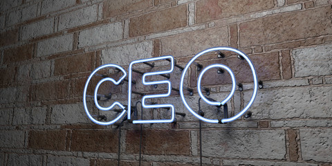 CEO - Glowing Neon Sign on stonework wall - 3D rendered royalty free stock illustration.  Can be used for online banner ads and direct mailers..