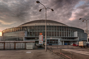Brno Exhibition center in sunset advent time