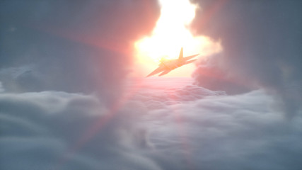 over clouds aerial view. flying military jet plane. Wonderfull sunset. 3d rendering.