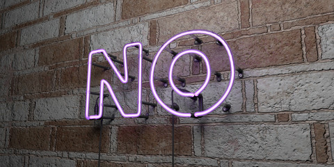 NO - Glowing Neon Sign on stonework wall - 3D rendered royalty free stock illustration.  Can be used for online banner ads and direct mailers.. Wall mural