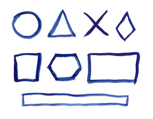 Circle, triangle, square, rhombus, rectangle, hexagon and the cross, drawn with blue watercolors paint by hand