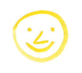 Smiling face, painted with yellow watercolors