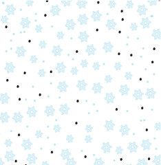 winter vector pattern with blue snowflakes and dots