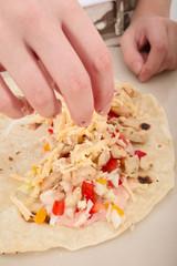 preparing of homemade tacos, shawarma, fajitas or doner kebab
