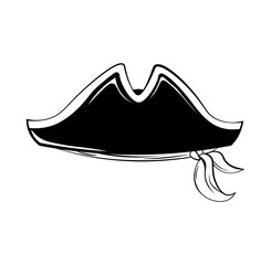 Pirate hat. Vector illustration isolated on white
