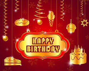 happy birthday with text glossy gold