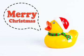 """bath duck with callout symbol and message  """"merry christmas""""  on white background"""