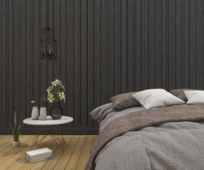 3d rendering vintage bed in clean dark wood bedroom