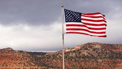 Wind Waving Bright Patriotic American Flag Stars and Stripes
