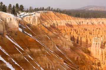 Fresh Snow Falling Bryce Canyon Rock Formations Utah USA