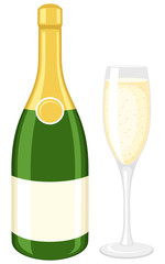 Vector illustration of a champagne bottle and glass.