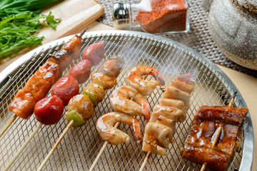 Seafood barbecue on grill